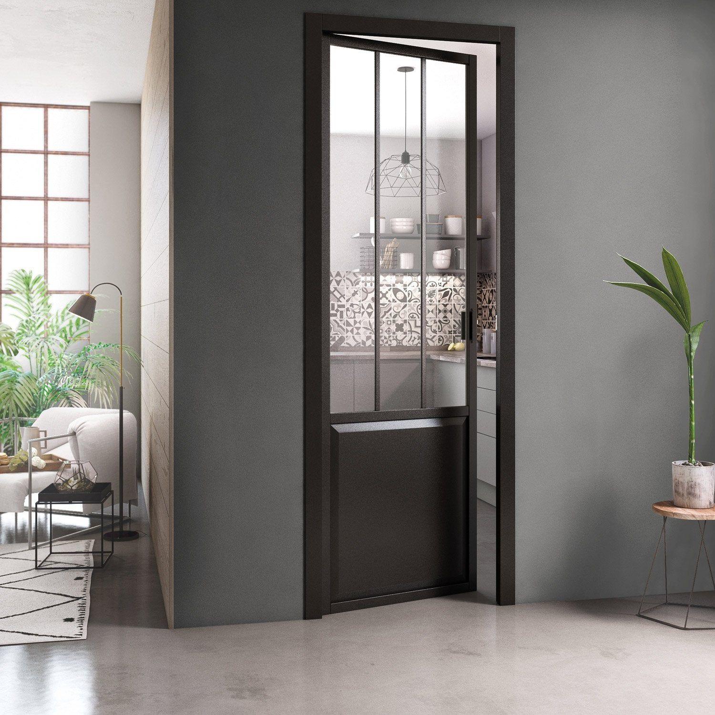 Bloc Porte Atelier Noir Verre Clair Xxl Artens H220 X L