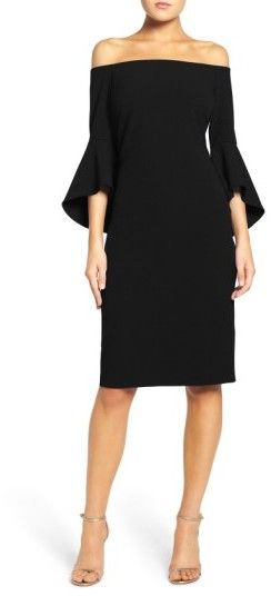 5b5ab4e147 Women's Chelsea28 Off The Shoulder Dress A trendy off-the-shoulder neckline  and voluminous bell sleeves give this crisp crepe dress its dramatic impact.
