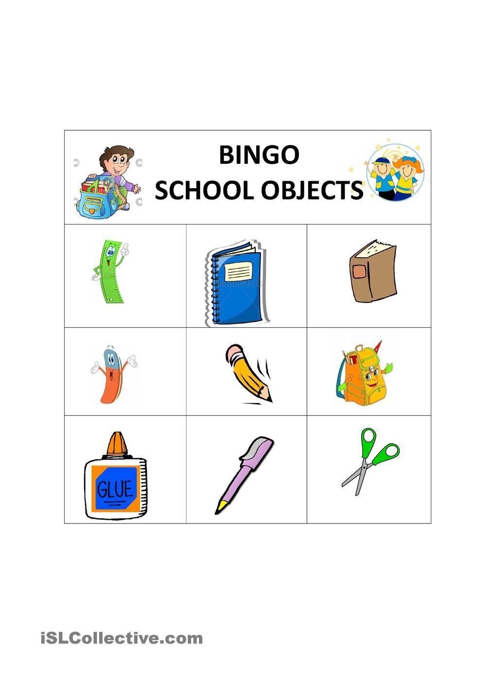 School Objects English Activities For Kids Classroom Bingo For Kids [ 1440 x 1018 Pixel ]
