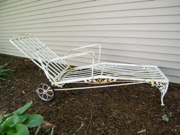 Garden Furniture Woodard Wrought Iron Chaise Lounge Orleans Oak Leaf And Acorn Patio Furnit