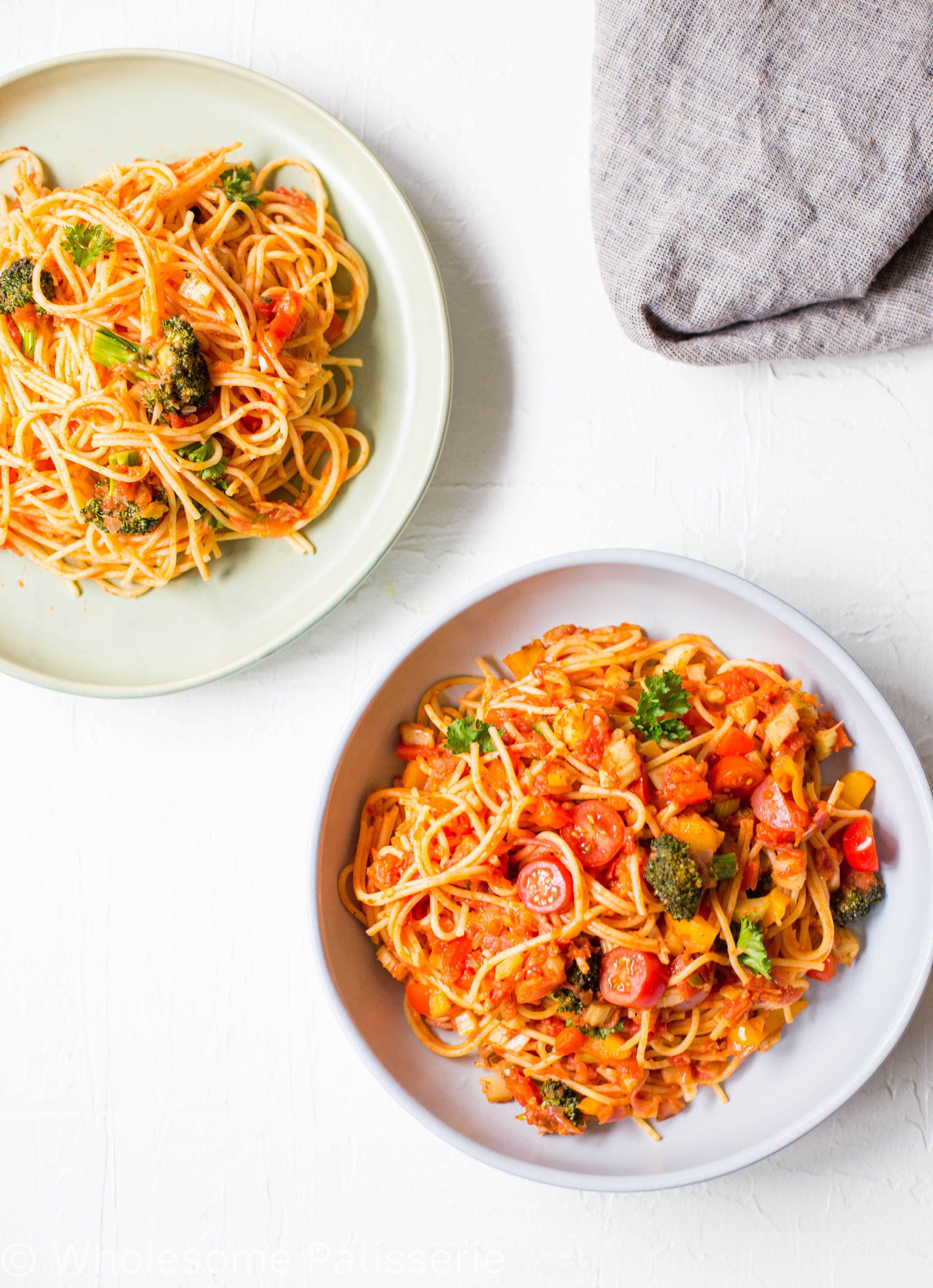 Gluten free vegetable spaghetti bowl wholesome