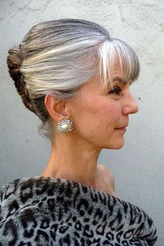 Updo Hairstyles For Older Women Hair Styles Silver Grey Hair Grey Hair Over 50