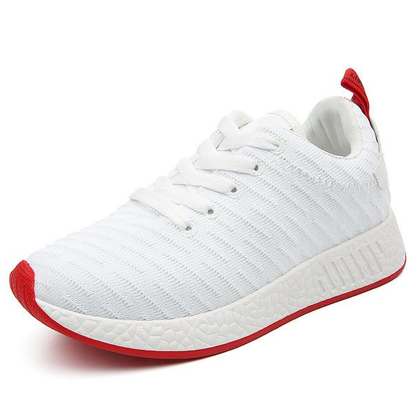 beec29586a9cd5 Men Knitted Fabric Line Pattern Shock Absorption Sole Casual Sneakers
