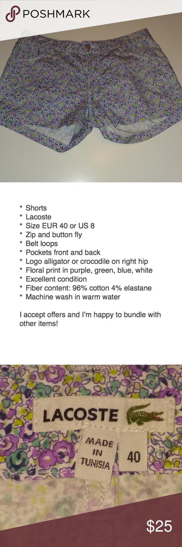Lacoste Eur 8 40 Pretty Floral Shorts Size Purple Us H2IDE9