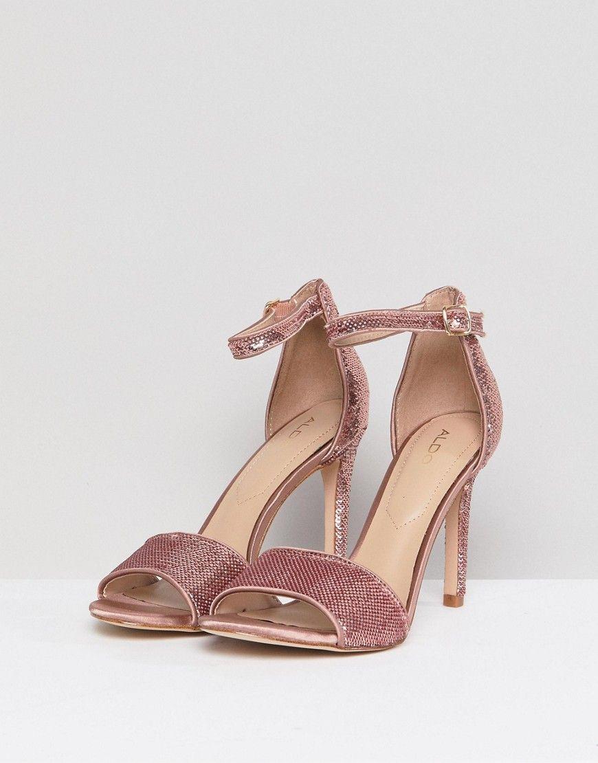 0c3396652f38 ALDO Fiolla Rose Gold Sequin Heeled Sandal - Gold