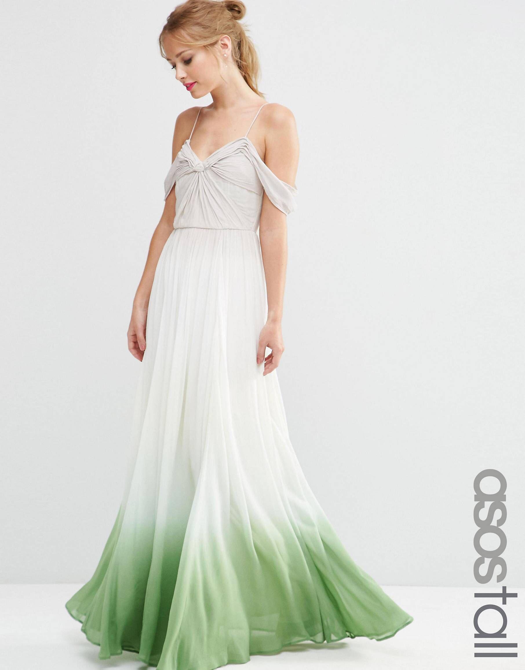 ASOS TALL SALON Ombre Ruched Maxi Dress at asos.com  Farbige