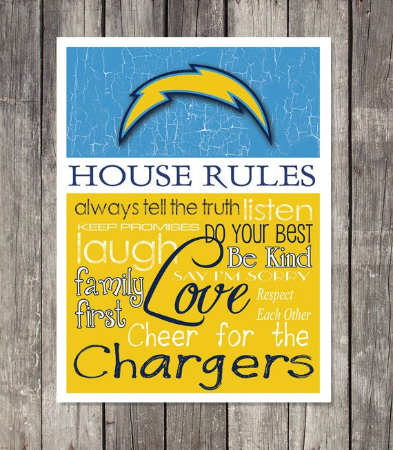 San Diego Chargers House Rules Art Print By Fanzoneimprintz For The Home San Diego
