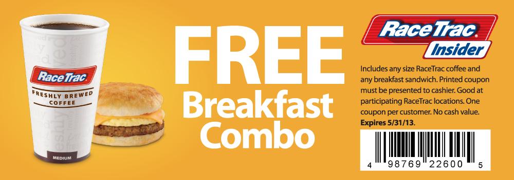 RaceTrac Gas Station Deal! Free breakfast, Racetrac gas
