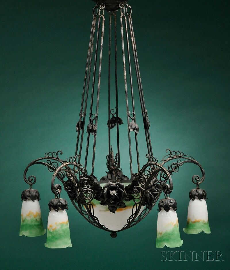 "Muller Fres Wrought Iron and Frosted Art Glass Five-light Chandelier, France, conical shades in mottled white, green, and brown, maker's mark on glass ""Muller Fres,"" approx. lg. 41 in."