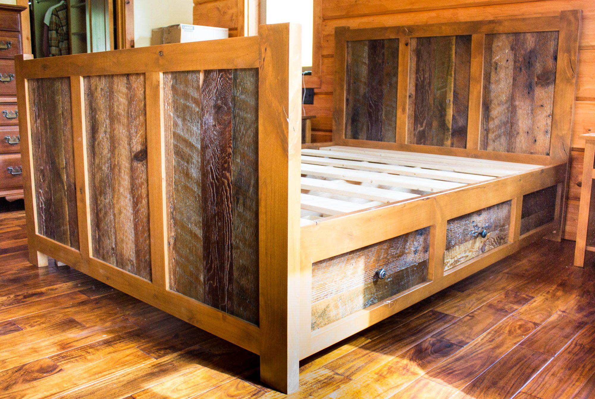Handcrafted Custom Rustic Alder Barn Wood Queen Bed w