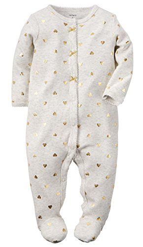 59efdecb43 Carters Baby Girls Cotton Sleep Play Newborn Gold Foil Hearts    Check this  awesome product by going to the link at the image. (This is an affiliate  link)   ...
