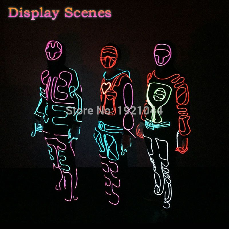 diy el wire costume party decoration light up flashing el mask clothes parts for festival night - Light Up Halloween Decorations