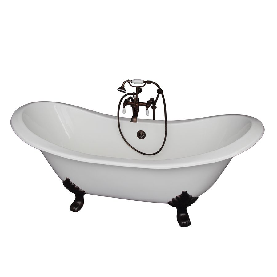 Barclay in white cast iron clawfoot bathtub with center drain