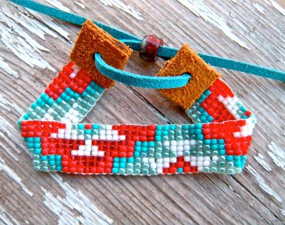 aztec bead loom native american bracelet blue by TabeasTreasures.