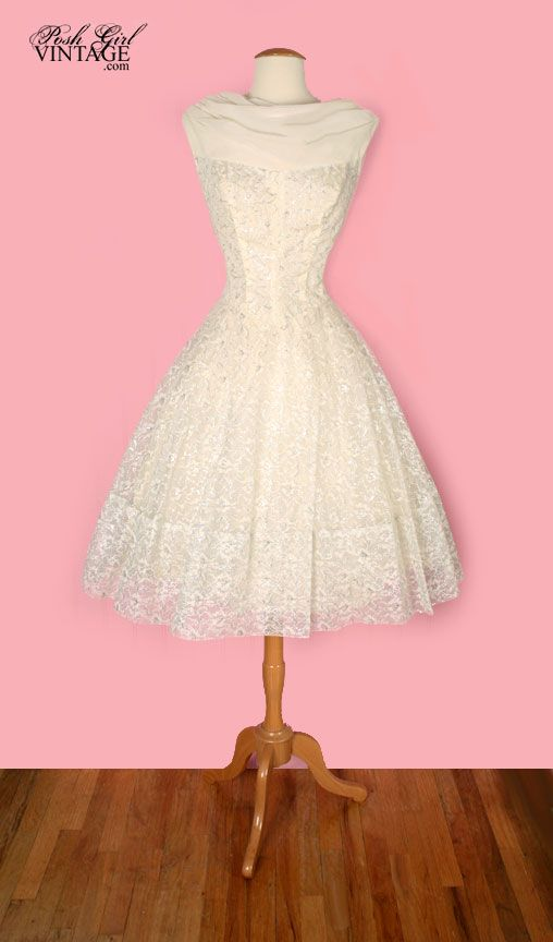 1950\'s Audrey Hepburn Style Tea Length Wedding Dress - M | Wedding ...