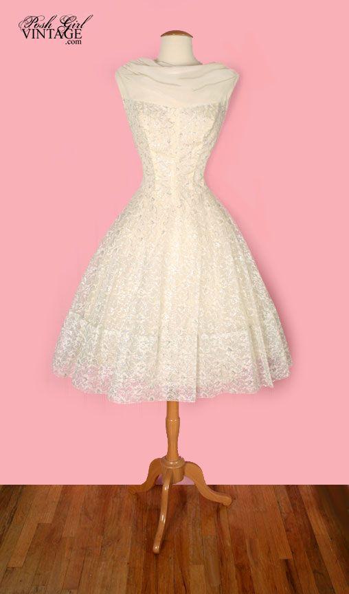 1950\'s Audrey Hepburn Style Tea Length Wedding Dress - M | Shabby ...