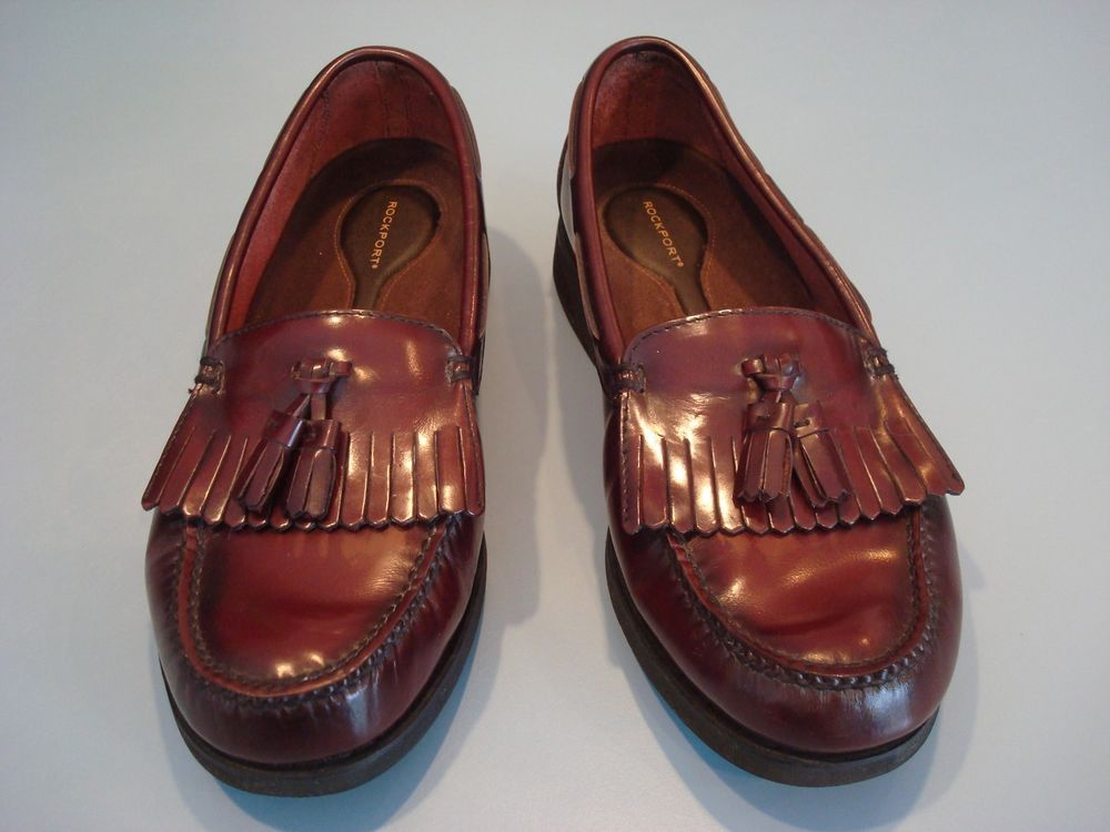 ROCKPORT DMX Mens Penny Loafers With Tassels Burgundy Shoes Size 10.5 Wide # Rockport #LoafersSlipOns