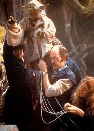 Master puppeteer Frank Oz as Yoda - Star Wars was originally produced with puppets and animatronics. This helped give the original series it's authentic feel of realism with creatures you could physically touch.
