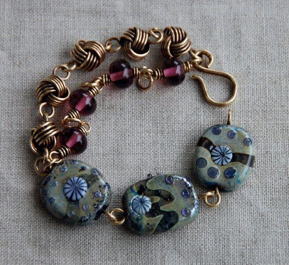 Azizeh - lampwork and wire link bracelet  Sweetbeadstudio