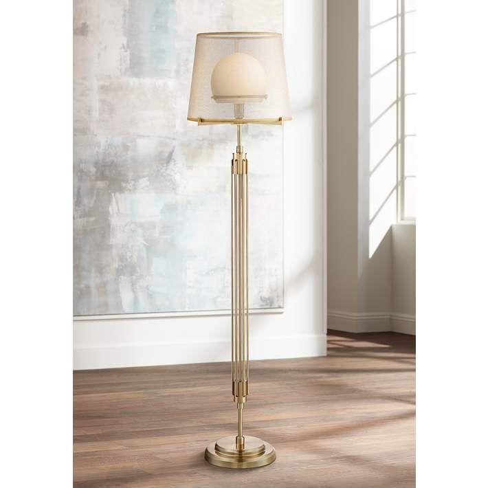 Possini euro phileas antique brass floor lamp 9p649 lamps plus