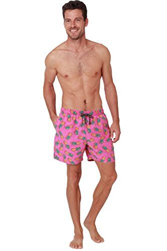 0b7f330702 Men's Quick Dry Swim Trunks Water Shorts Swimsuit Beach Shorts With Mesh  Lining (Pink Pineapple, XX-Large)