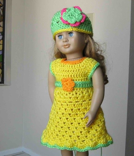 Pattern in PDF -- crocheted doll dress and belt for american girl ...