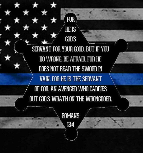 Law Enforcement Support/Thin Blue Line - Romans 13:4 For He is God's Servant - framed shadow box with backlit photo. Can be personalized!