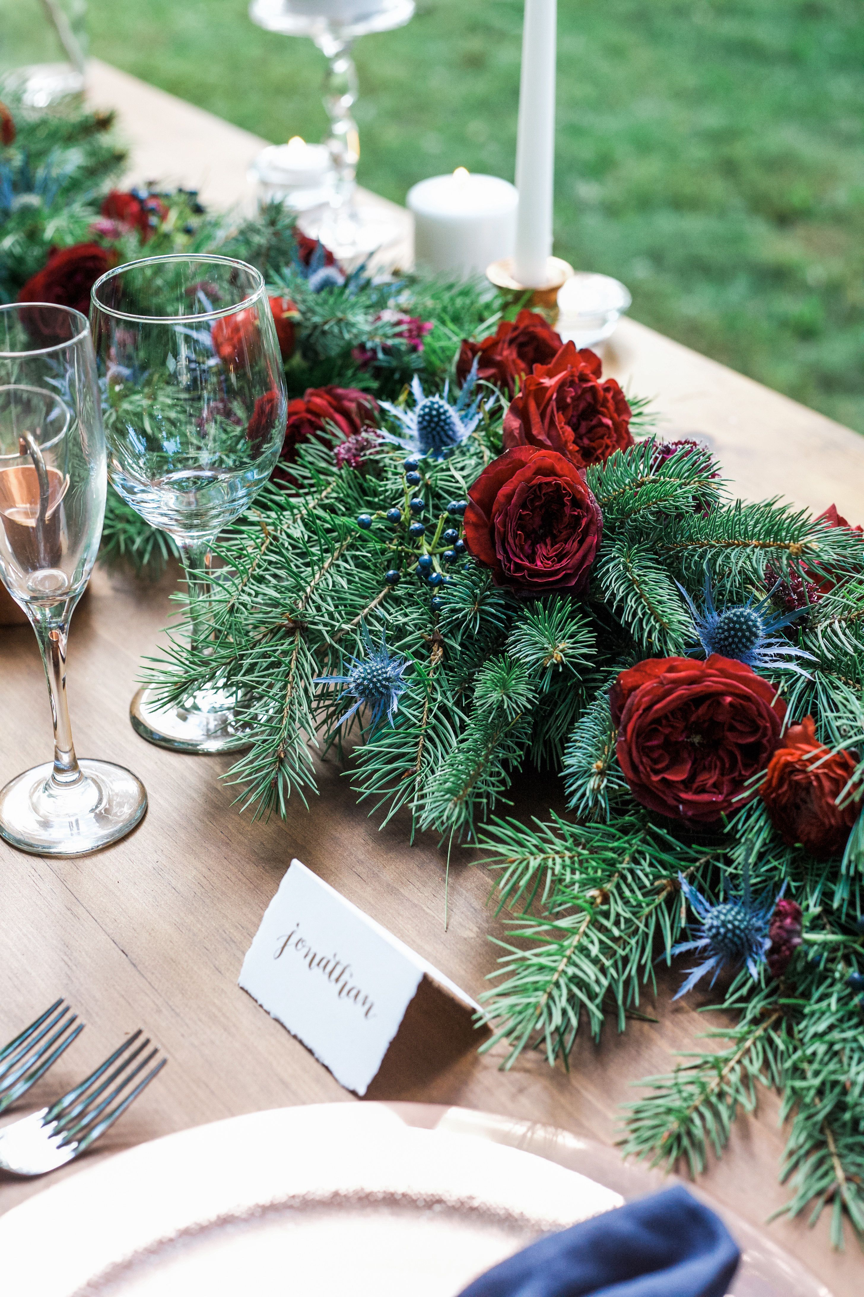 Winter Wedding Styled Shoot Evergreen Garland With Blue Thistle