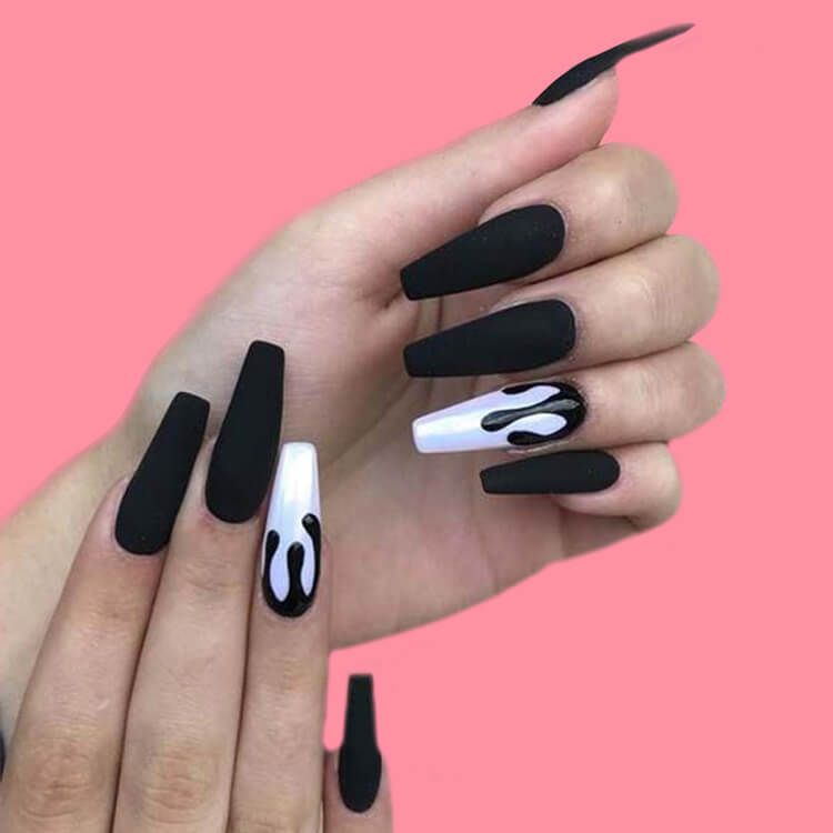 40 Cool Matte Black Coffin Nail Ideas to try - Page 8 of 40 - ShowmyBeauty