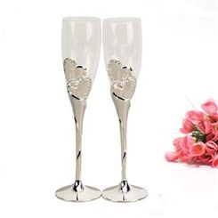 Hot Silver-Plated Glass Toasting Flutes(Set of 2)
