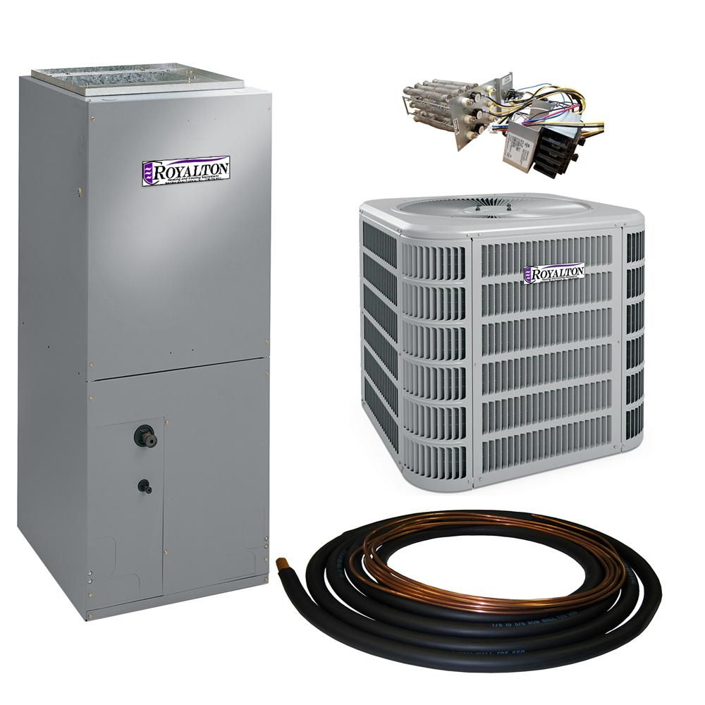 Royalton 2 5 Ton 14 Seer Residential Split System Electric Heat Pump System With Heat Kit Gray Electric Heat Pump Heat Pump System Heat Pump
