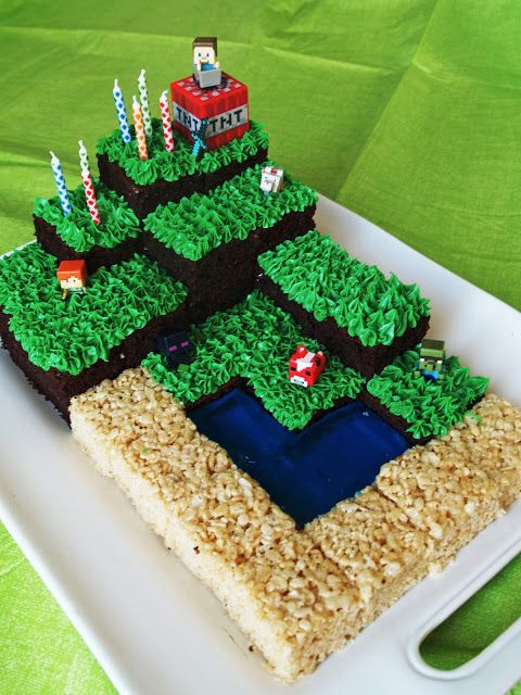 Minecraft Party With Free Printables Minecraft Birthday Cake