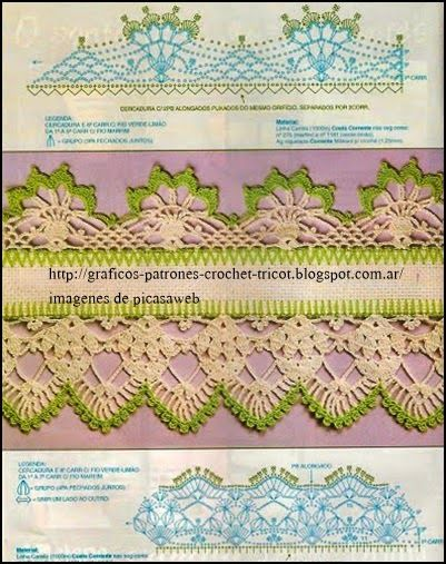Patrones crochet ganchillo graficos puntillas - Puntillas para cortinas ...