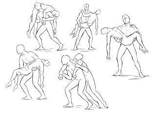 Base Pose For Works Of Soldiers Carrying Wounded Friends Drawing