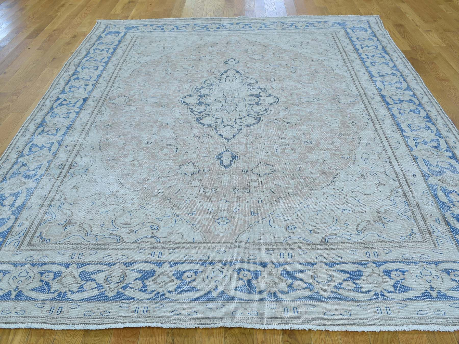 7 X9 6 Hand Knotted Pure Wool White Wash Kerman Persian Rug