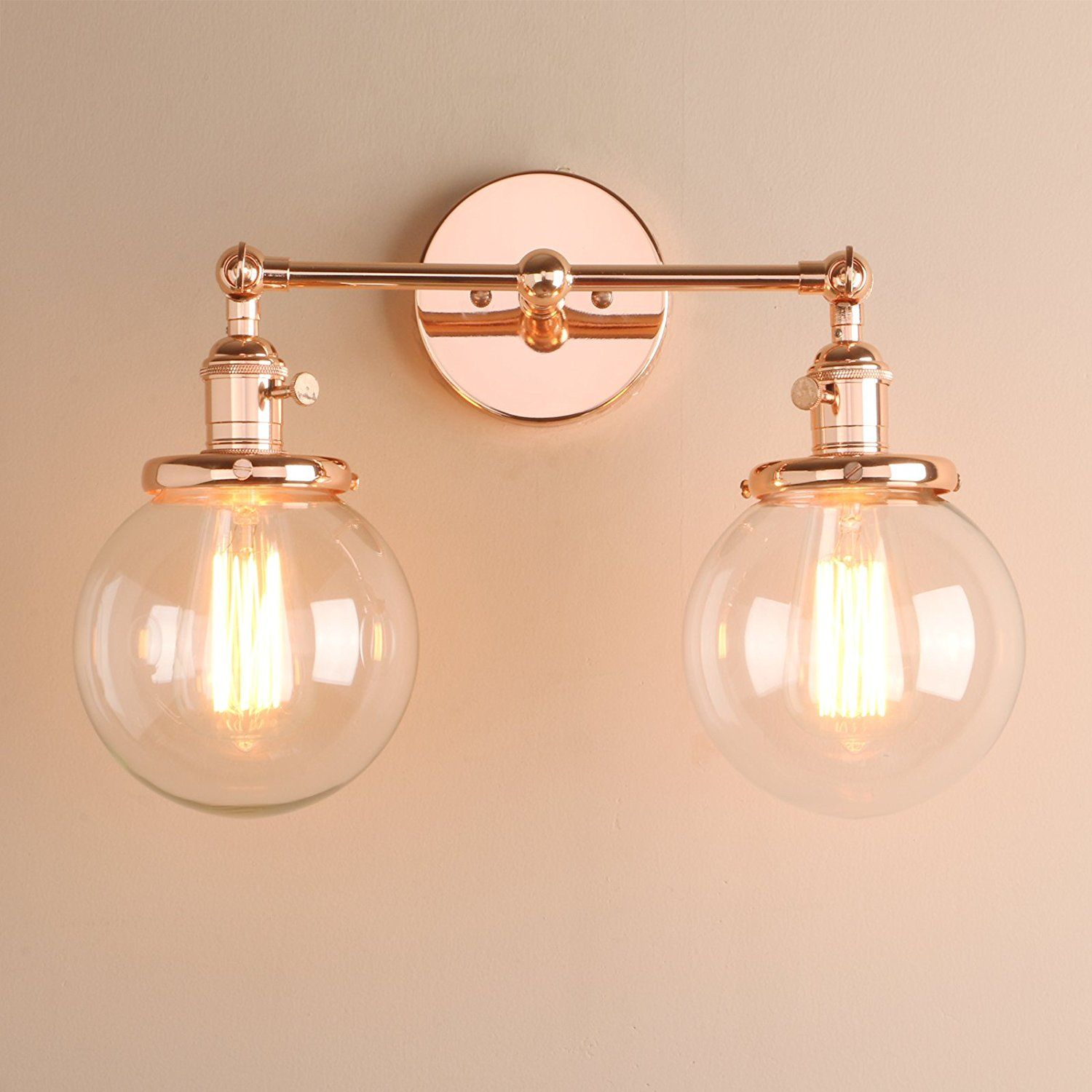 Pathson Stylish Vintage Industrial Modern Double Wall Lights Loft Cafe Bar Wall Sconce Light Lamp Fixtures With Globe Clear Glass Shade Copper Amazon Lamparas
