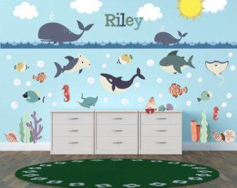 Ocean Nursery Ocean Wall Decals Ocean Wall Art Ocean