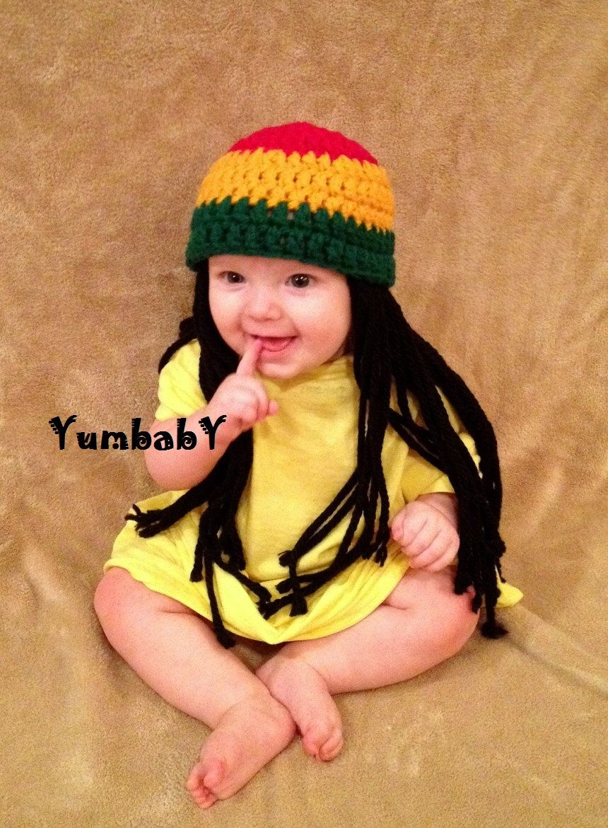 Baby Hats Rasta hat Photo Props Toddler Costume, Beanie Wig, Yellow ...