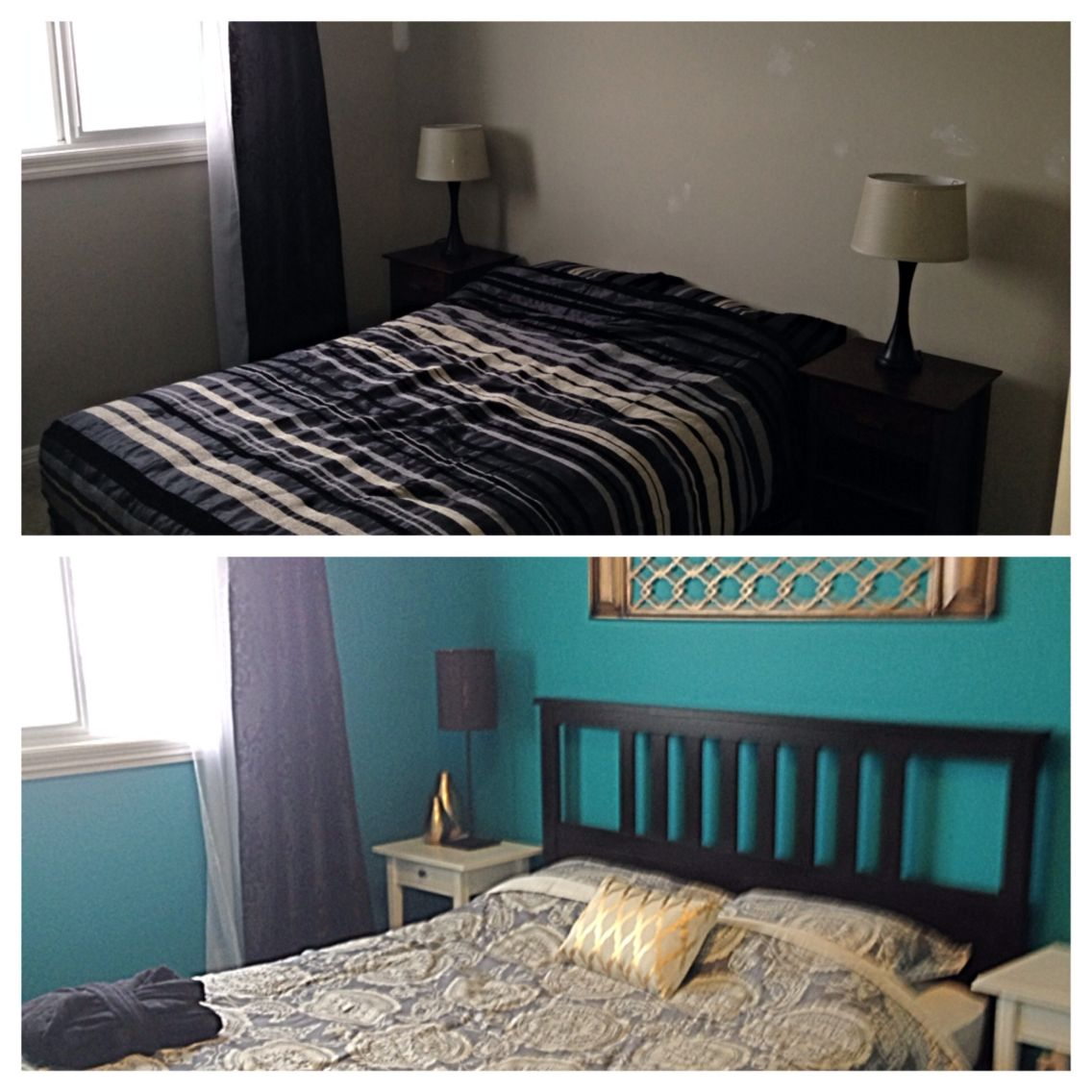 Before and after guest bedroom.