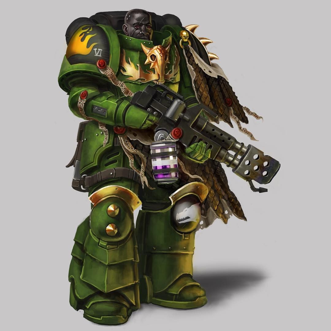 Color Scheme Obsidian Salamanders Primaris Space Marine Fan Art Wh40k