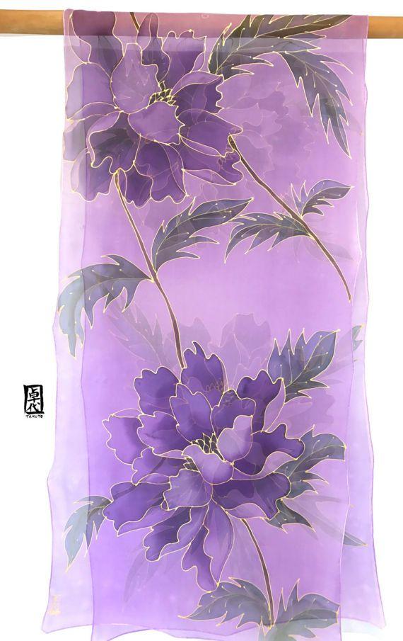 Silk Scarf Handpainted Hand Painted Silk Shawl Purple Scarf Etsy In 2020 Silk Scarf Painting Hand Painted Sarees Fabric Painting