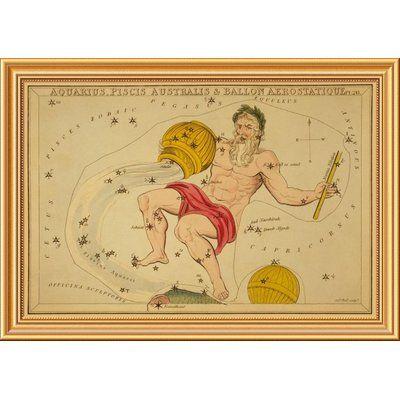 East Urban Home 'Aquarius, Piscis Australis & Ballon Aerostatique, 1825' Framed Graphic Art Print on Canvas Size: