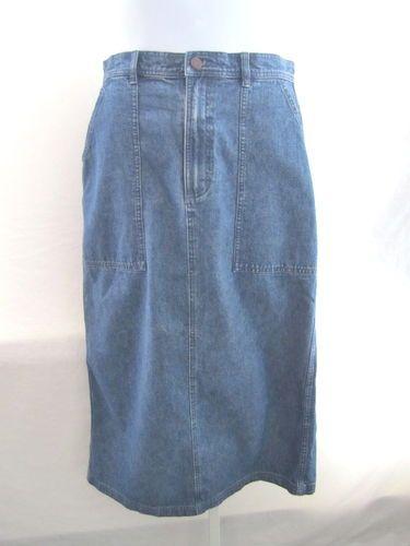 Sz 10 Cabelas Denim Skirt Cotton Blue Jean Straight Slight A Line Comfy Cute | eBay