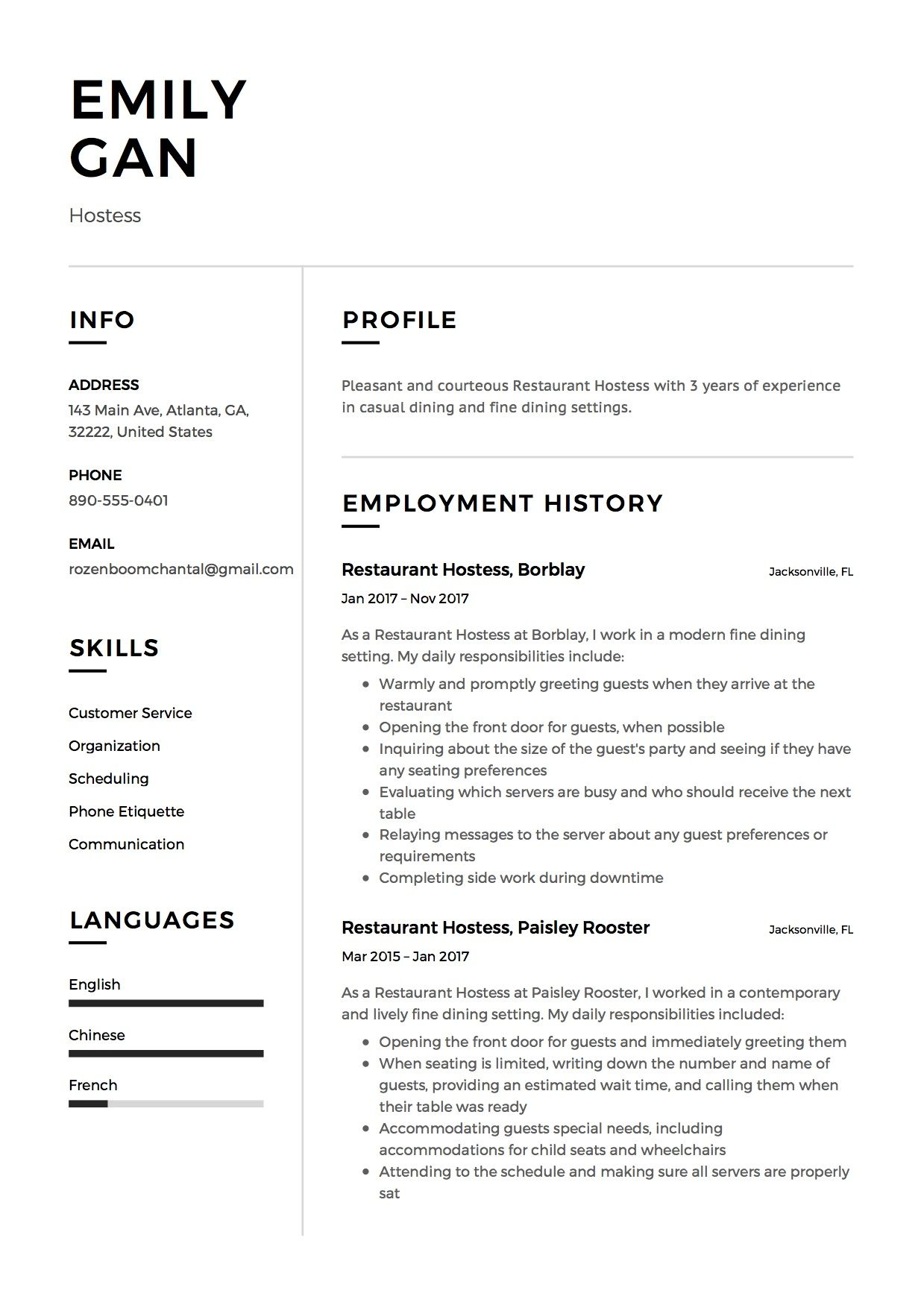 Resume Restaurant Hostess Example Template