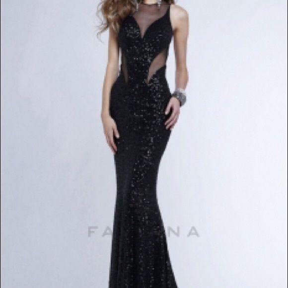 Faviana Black Sequin Prom Dress Gorgeous cut-out mermaid dress ...