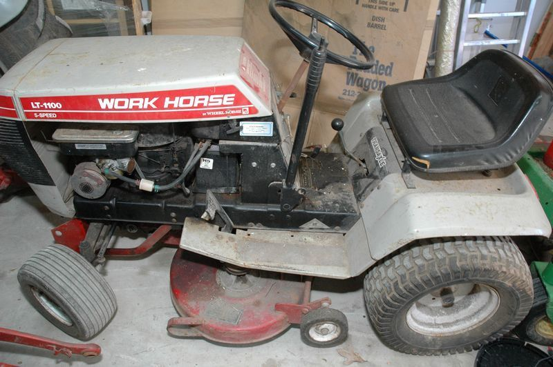 Item # 19 -- Work Horse Ride On 5 Speed Lawn Mower LT-1100 by Wheel Horse (Needs a new battery)