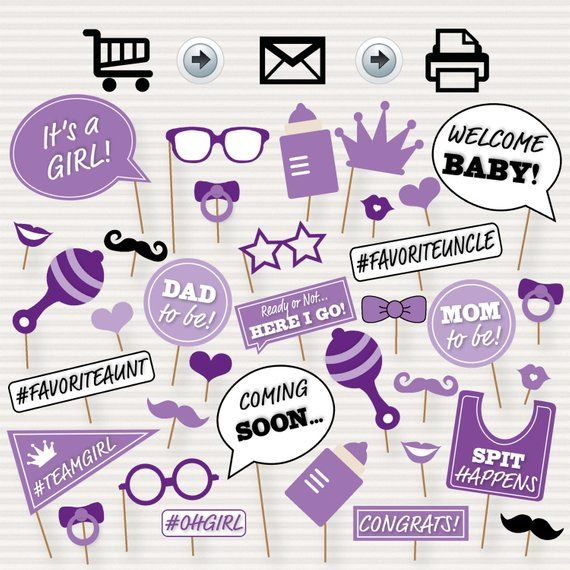 Baby Shower Printable Photo Booth Props Baby Shower Photobooth