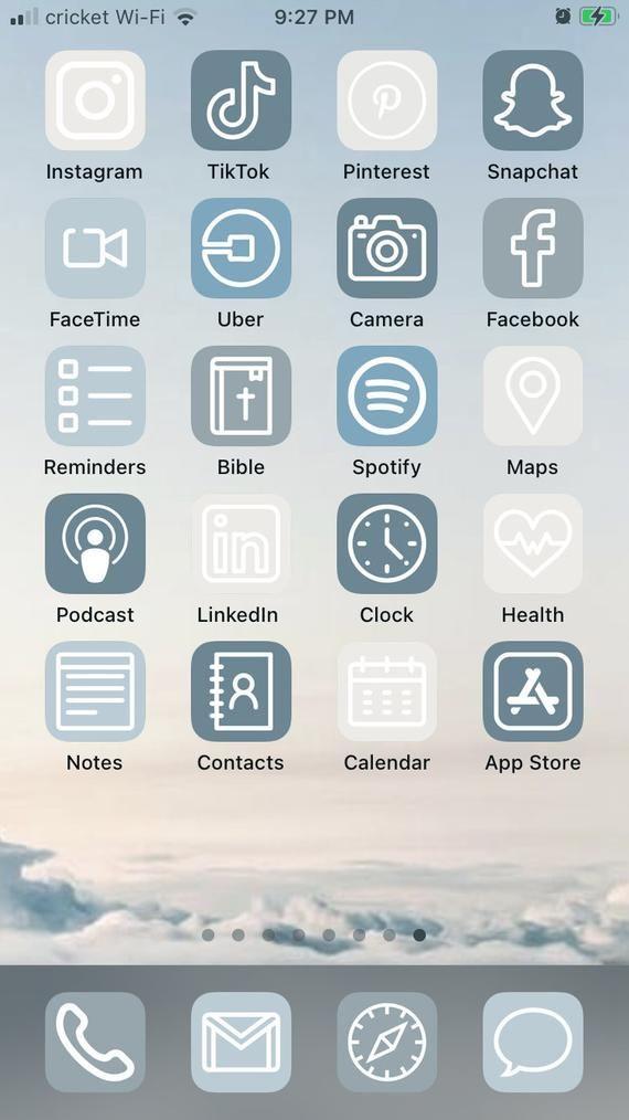 Blue Skies iOS 14 Aesthetic iPhone App Icons 50 Pa
