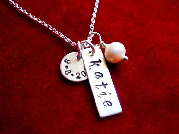 Necklace with Kids Name and Birthdate Sterling by OohSoCharming, $28.00
