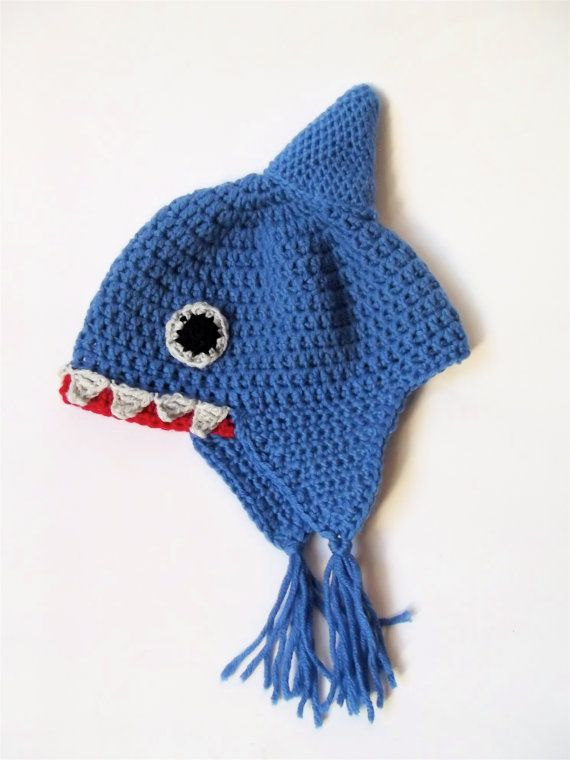 Baby shark hat crochet animal hat fun baby hat by PoppyBlueCrochet ... bf8dac391c1
